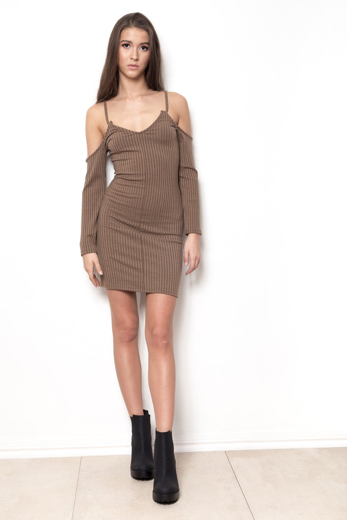 Short Notice Cold Shoulder Dress - Nude