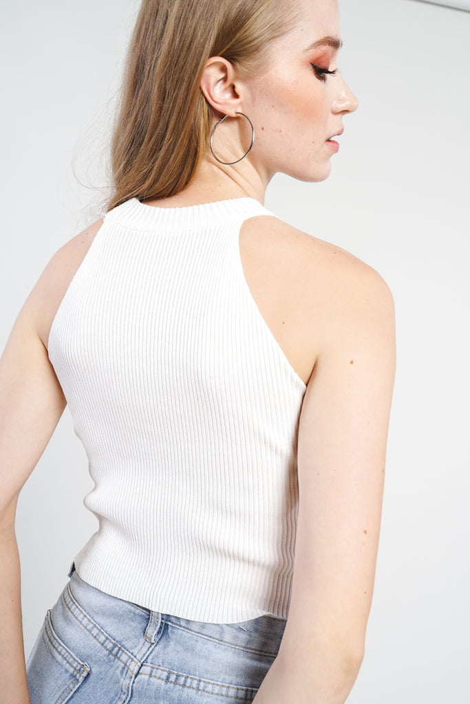 Small Talk Graphic Knit Top - White