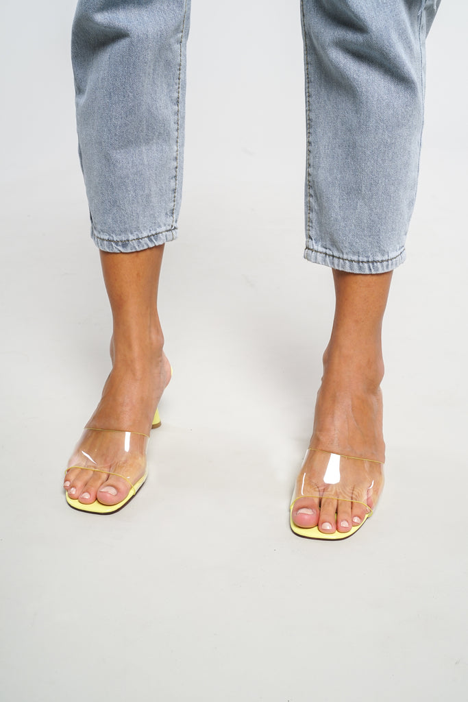 Uncover Clear Strap Kitten Mules - Neon Yellow