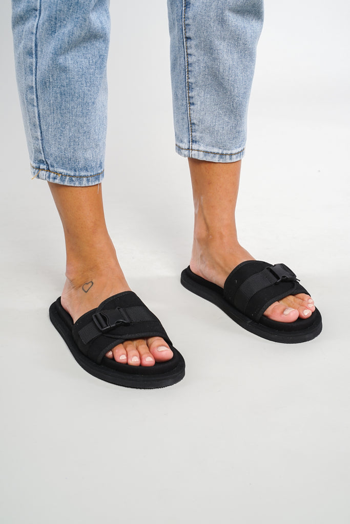 Creeper Buckle Strap Slides - Black
