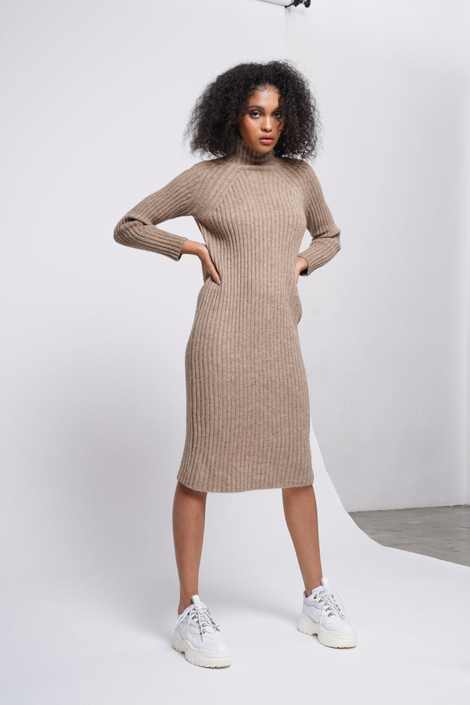 Spoke Too Soon High Neck Knit Dress  - Cinnamon