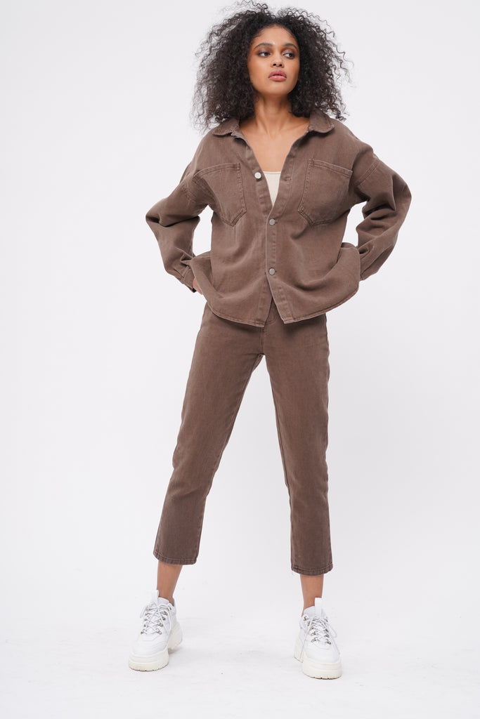 Hard And Fast Denim Jacket and Pants Set - Cocoa