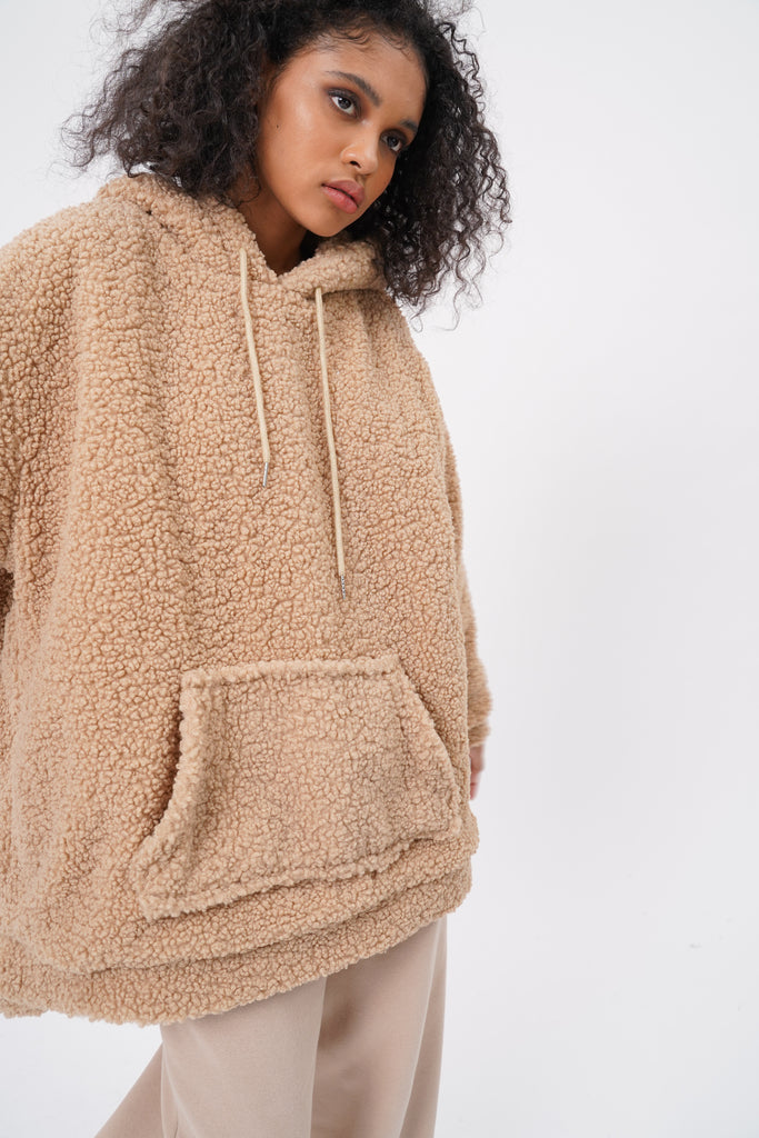 Stone Cold Oversized Teddy Hoodie - Cocoa
