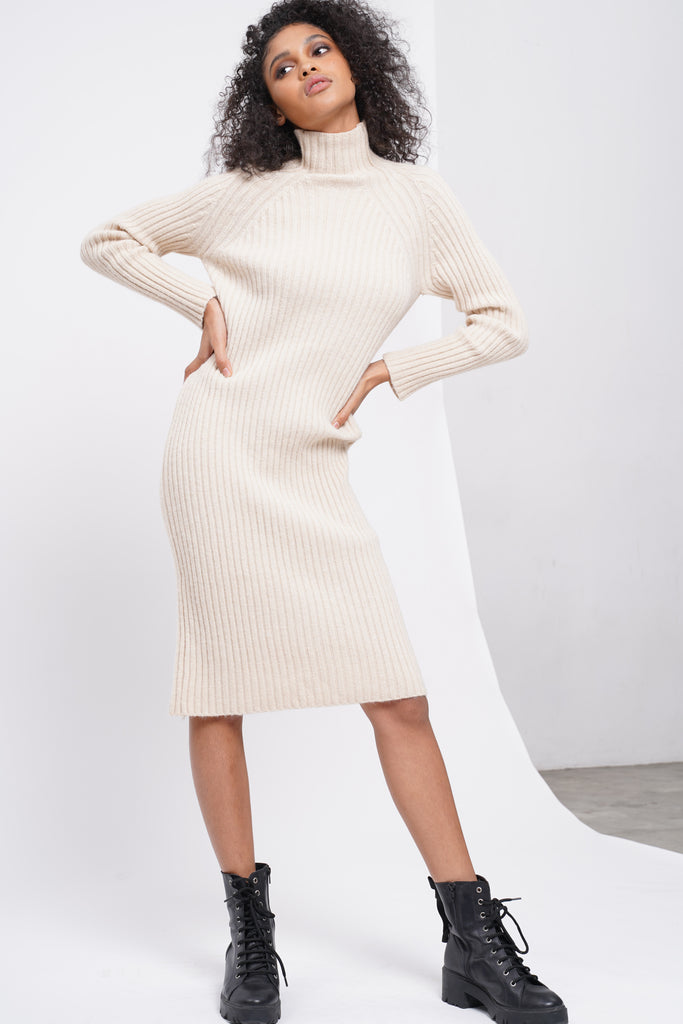Spoke Too Soon High Neck Knit Dress - Cream