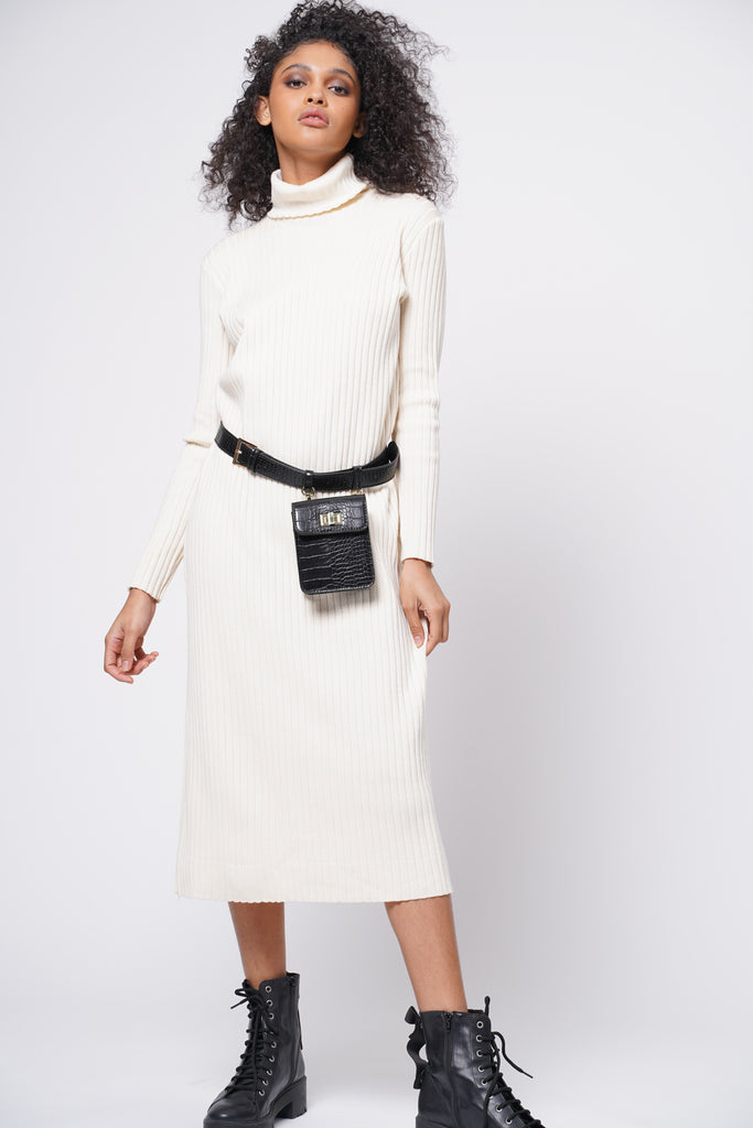 Hard To Forget Knit Turtleneck Dress - Cream