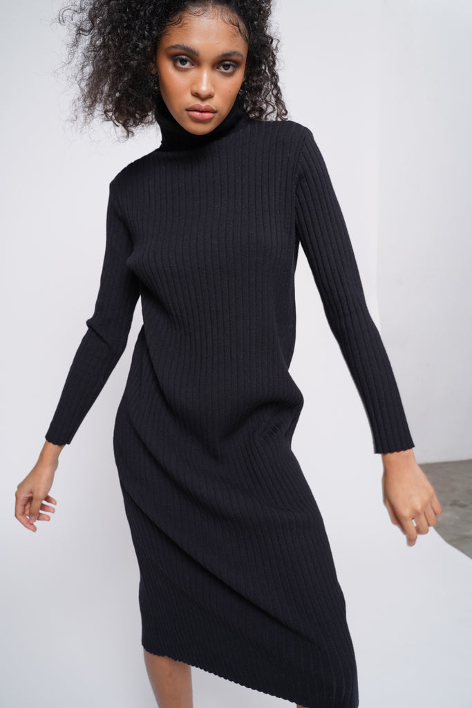 Hard To Forget Knit Turtleneck Dress - Black