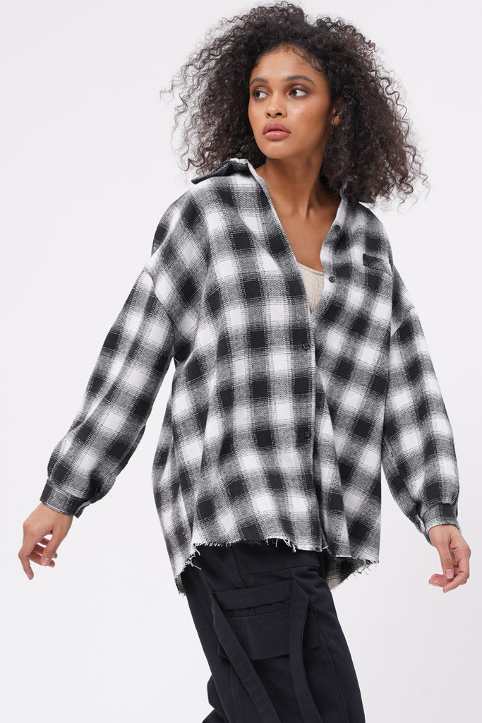 Call It Off Raw Hem Flannel Shirt