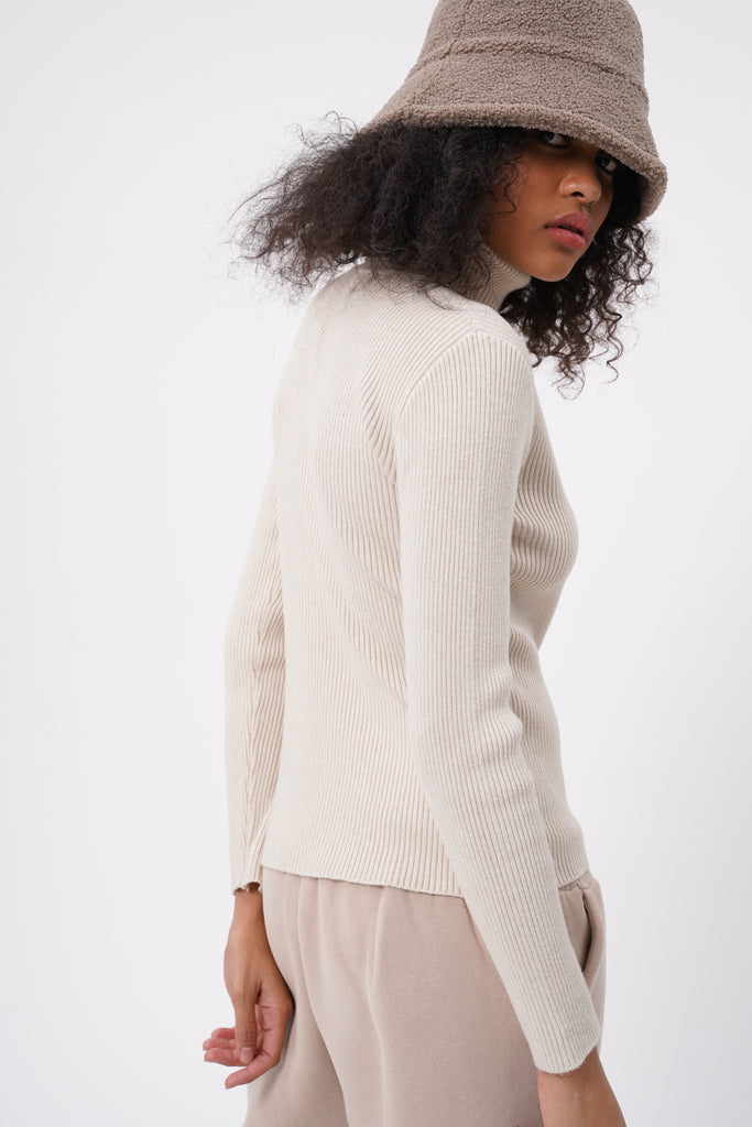 Cold Case Knit Turtleneck Longsleeve Top  - Cream