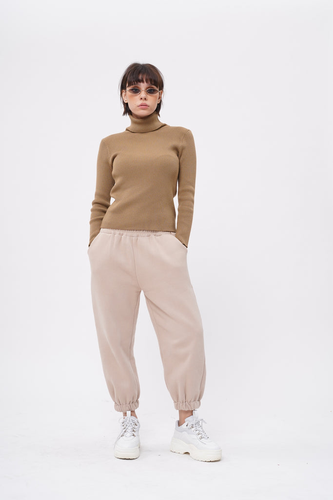 Cold Case Knit Turtleneck Longsleeve Top - Walnut