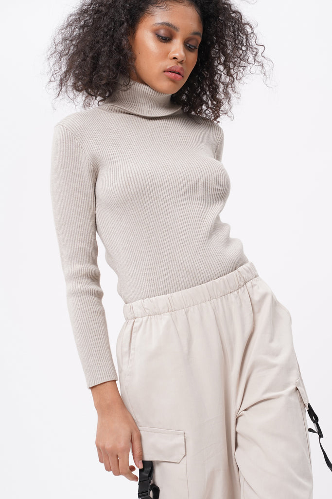 Cold Case Knit Turtleneck Longsleeve Top - Taupe