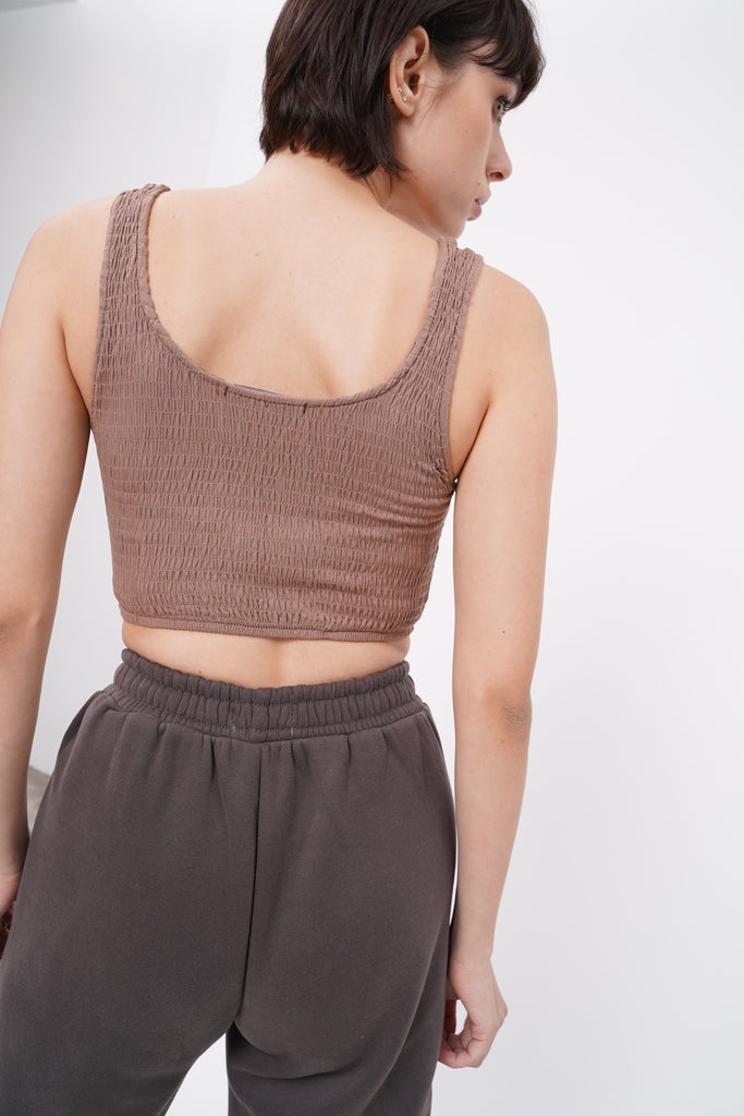 [PREORDER] Like You Mean It Smocked Crop Top - Nude