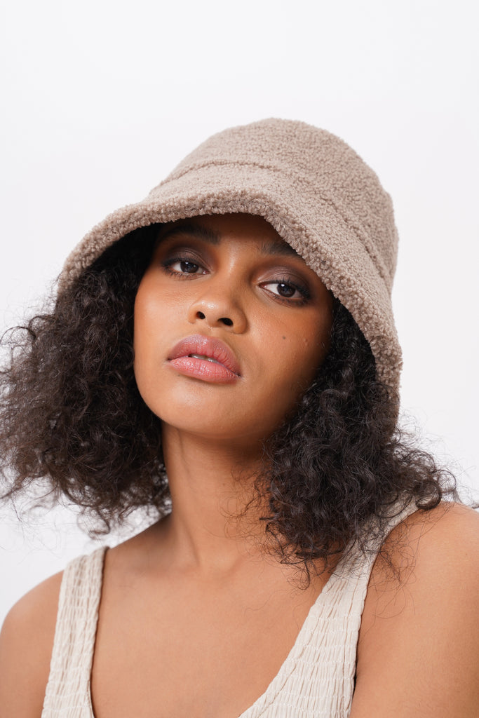 Heads Up Faux Shearling Bucket Hat - Nude