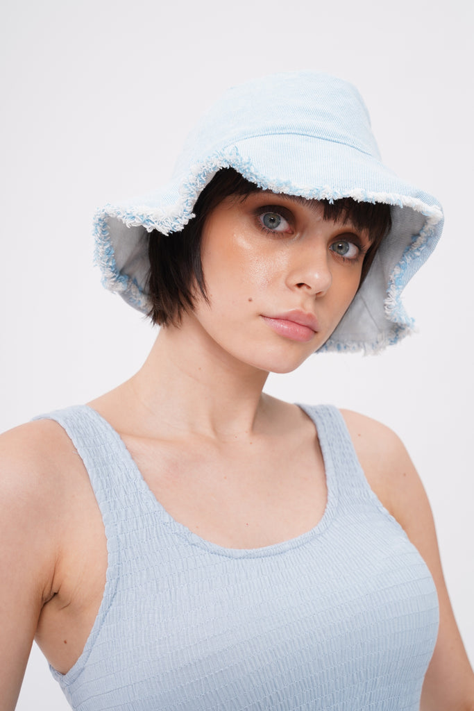 Denim Daze Frayed Bucket Hat