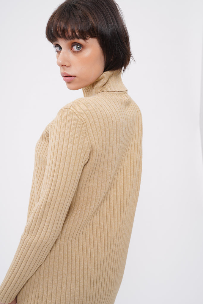 Hard To Forget Knit Turtleneck Dress - Nude
