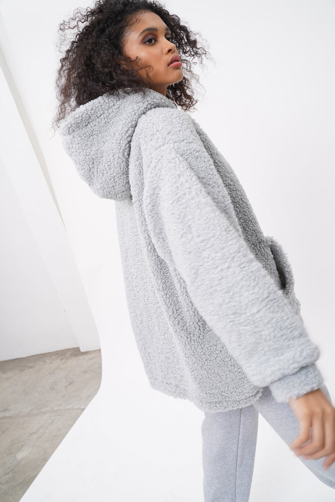 Stone Cold Oversized Teddy Hoodie - Stone