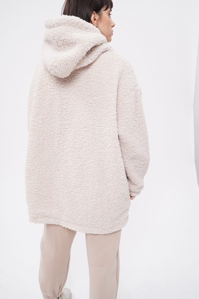 Stone Cold Oversized Teddy Hoodie - Cream