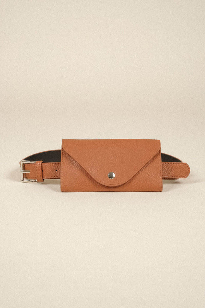 Hands To Myself Faux Leather Belt Bag - Camel