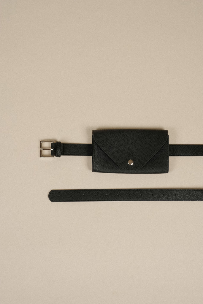 Hands To Myself Faux Leather Belt Bag - Black