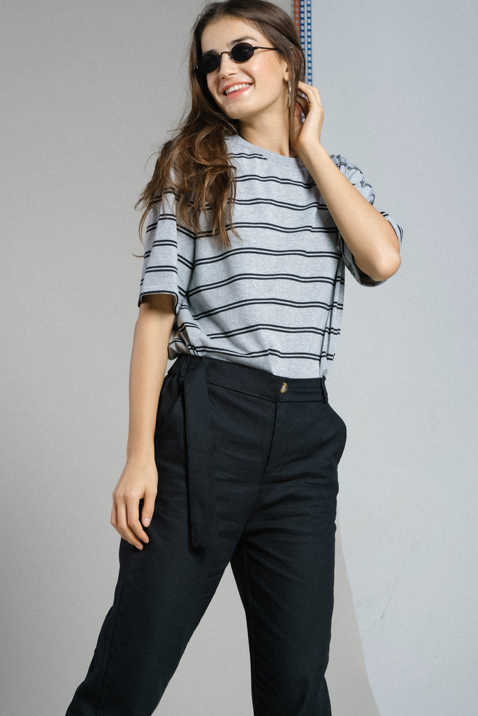 Straight Up Double Striped Tee - Gray