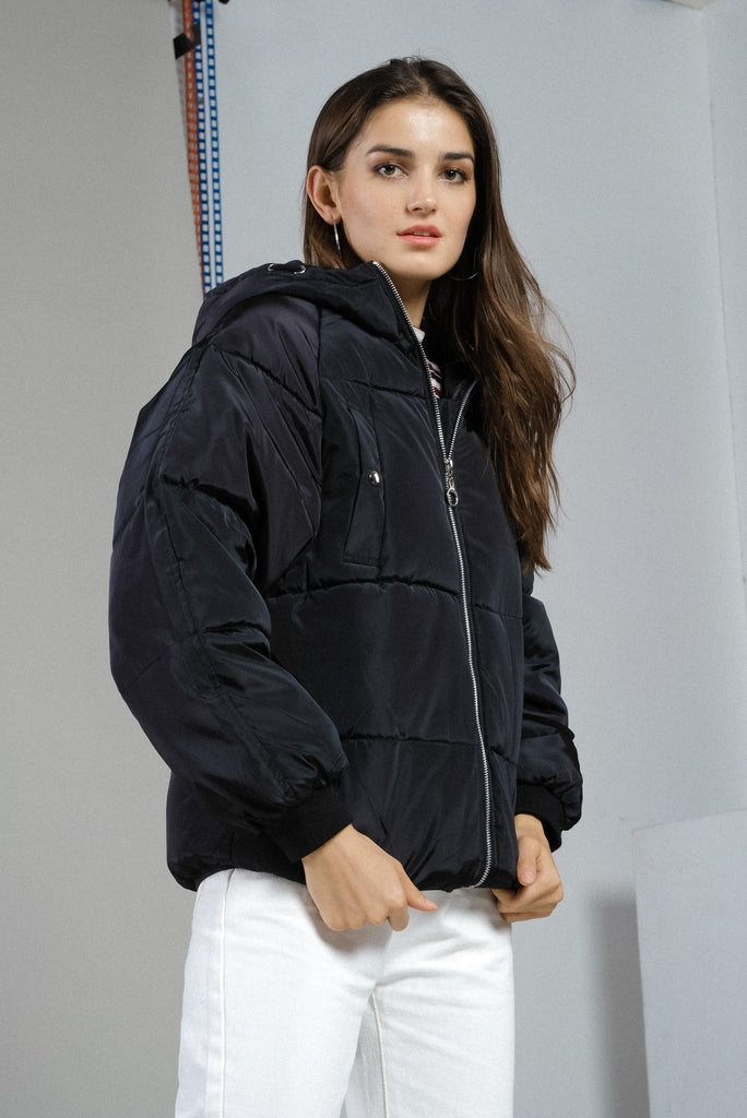Cold Front Puffer Jacket - Black