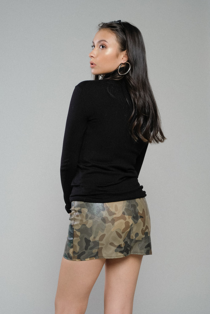 Out Of Sight Camouflage Faux Leather Mini Skirt