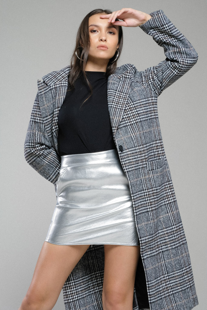 Glow Getter Metallic Faux Leather Skirt - Silver