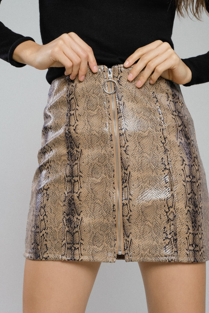 Snake Or Break Zip-Up Faux Leather Skirt