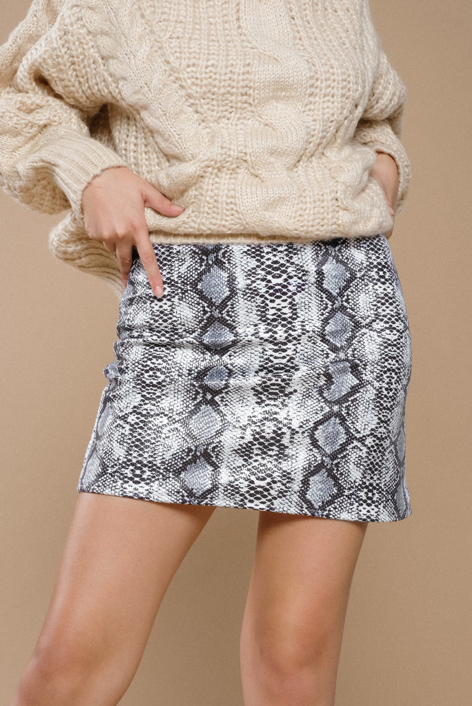 Concrete Jungle Faux Leather Skirt - Gray