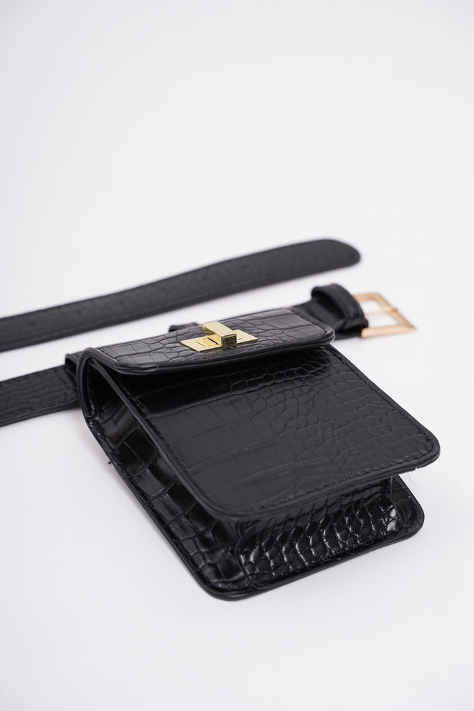 Hands On Deck Croc-Embossed Faux Leather Belt Bag