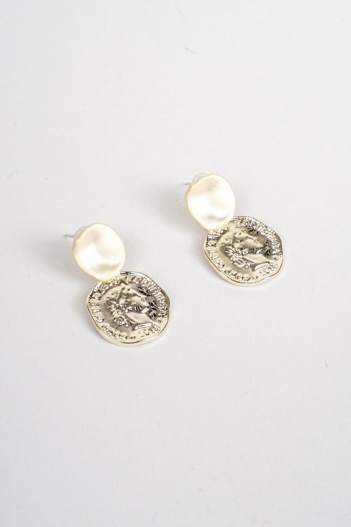 Coin Drop Gold Earrings