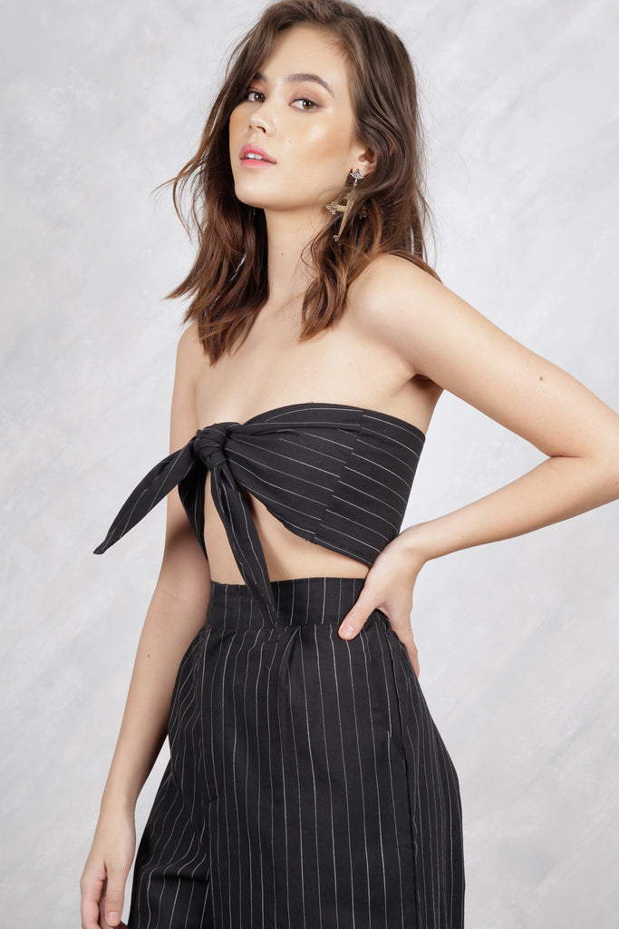 Feel It Still Pinstripe Self-Tie Bandeau Top - Black