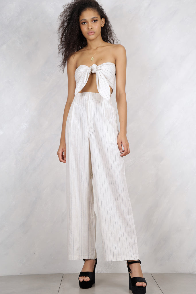 Feel It Still Pinstripe Self-Tie Bandeau Top - White