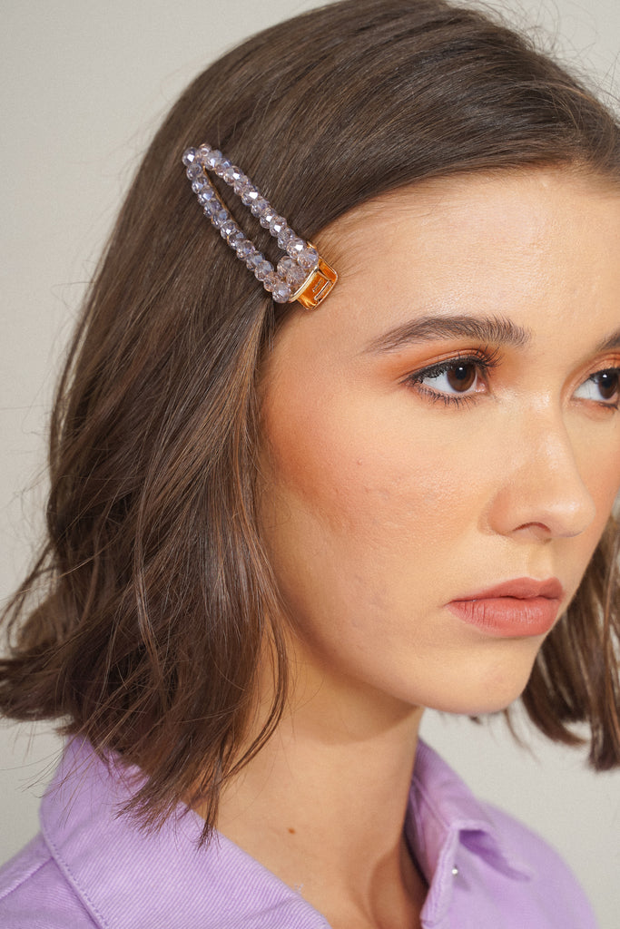 Glow Girl Crystal Barrette - Lilac
