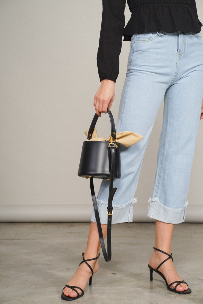 East Hampton Faux Leather Bucket Bag - Black