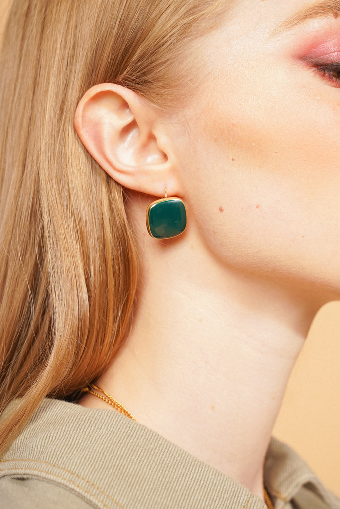 High Profile Square Earrings - Emerald