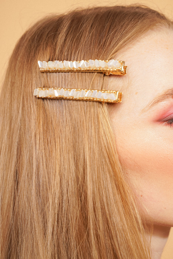 In A Spark Barrette - White