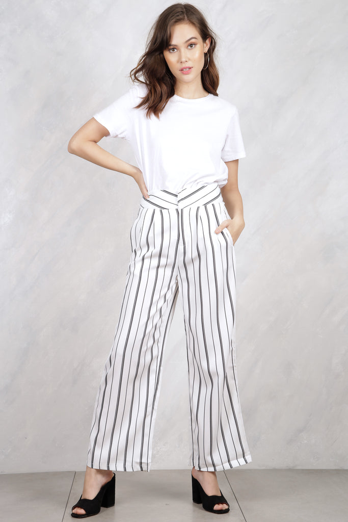 Bottom Line Striped Trousers - White