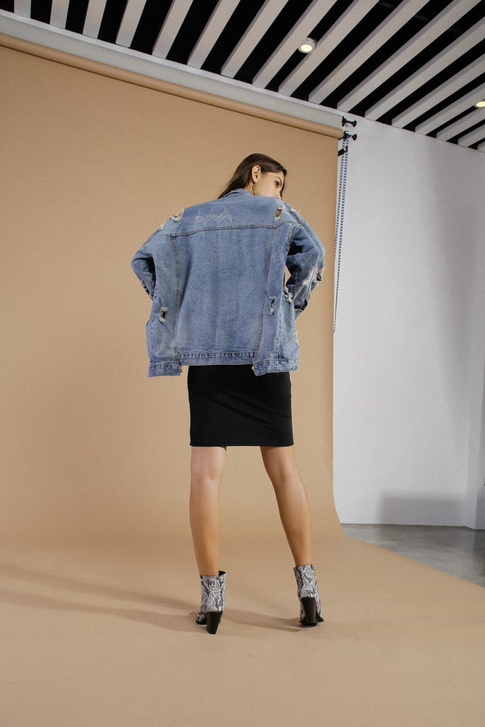 Code Shred Oversized Denim Jacket