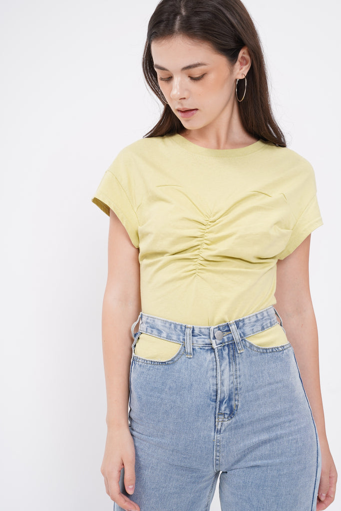 Meet In The Middle Ruched Top - Lime
