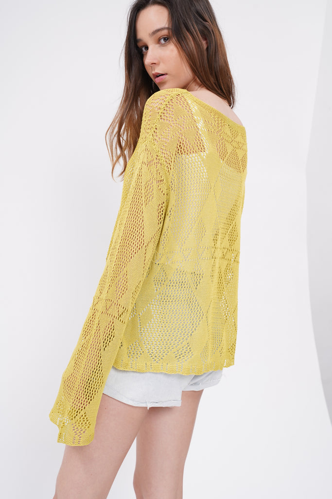 Slow And Steady Open Knit Sweater - Lime