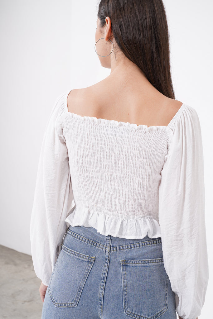 Meant To Fall Lace-Up Smocked Top - White