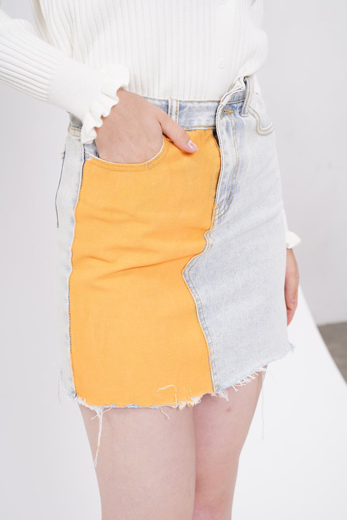 Double Dare Painted Denim Skirt - Marmalade