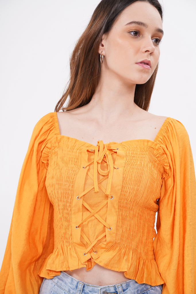 Meant To Fall Lace-Up Smocked Top - Marmalade