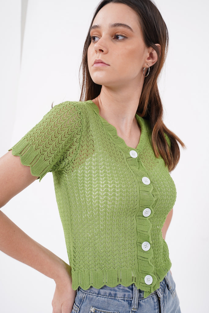 Here To Stay Open Knit Button Down Top - Lime