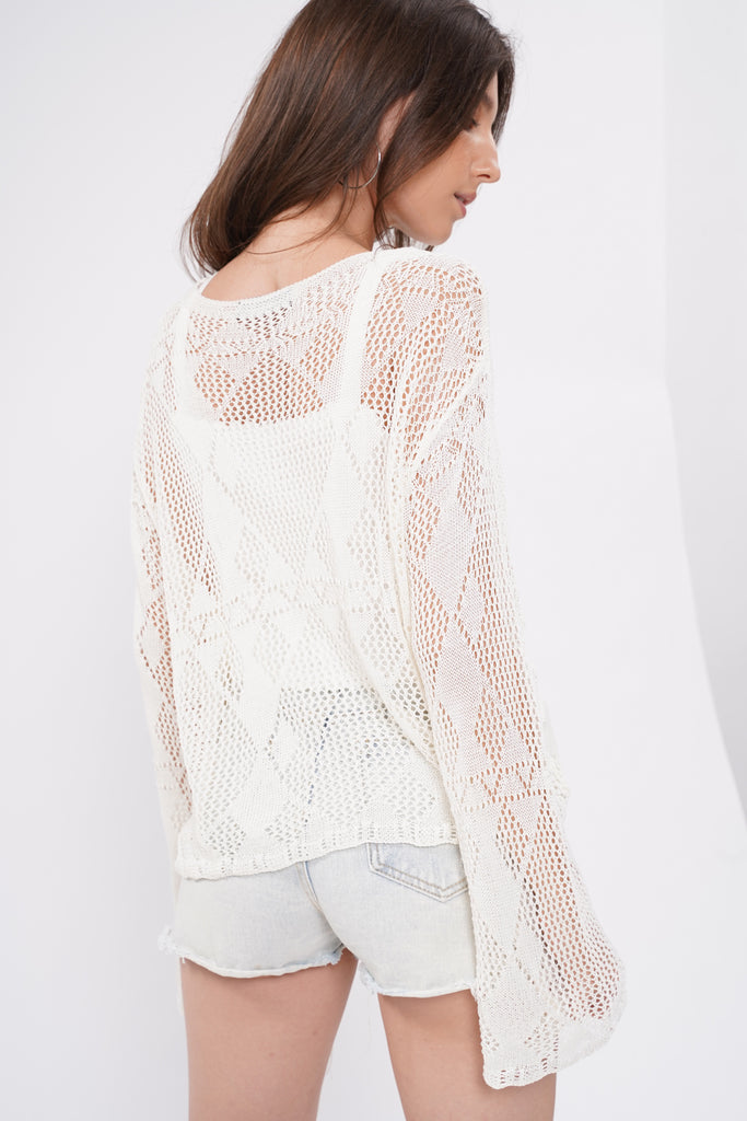 Slow And Steady Open Knit Sweater - White