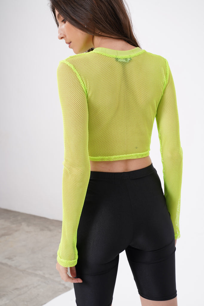 Flash Forward Mesh Longsleeve Crop Top - Acid Lime