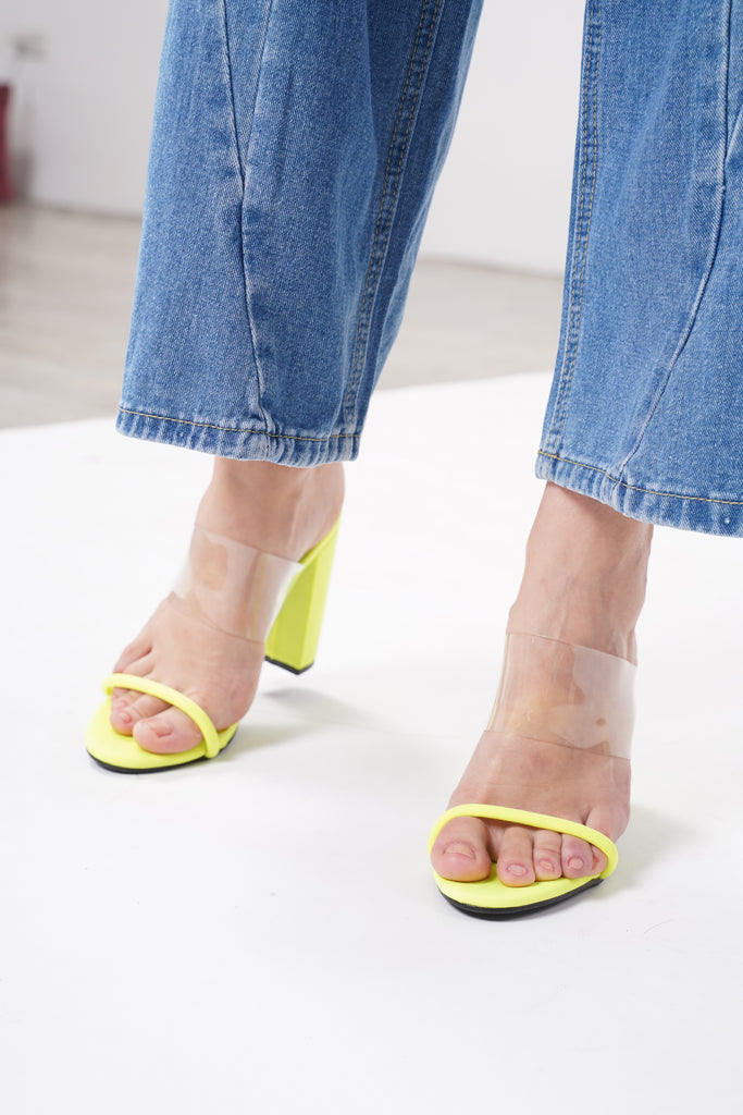 Reckless Perspex Block Heels - Acid Lime