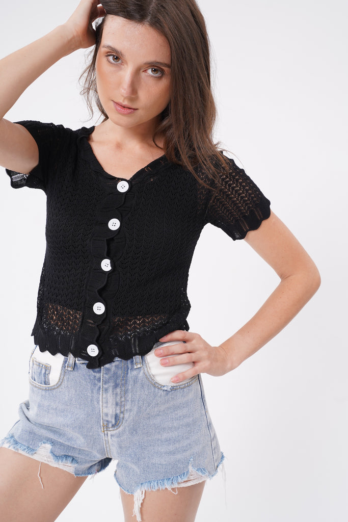 Here To Stay Open Knit Button Down Top - Black