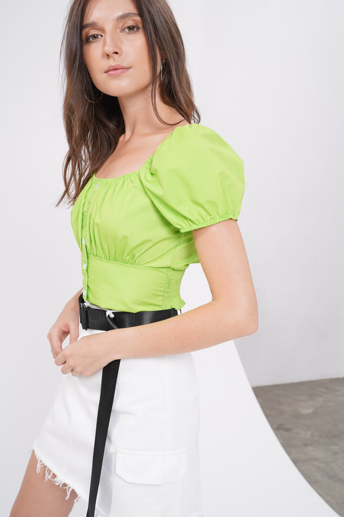 Lost In Love Ruched Bust Top - Neon Green