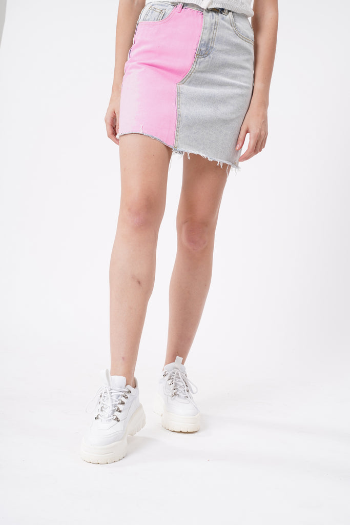 Double Dare Painted Denim Skirt - Crush